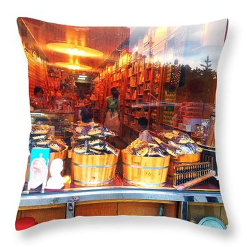 Chinatown Nyc Herb Shop Throw Pillow by Joan Reese