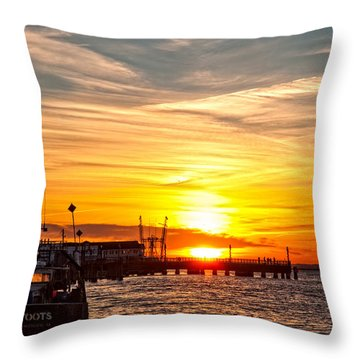 Chincoteague Bay Sunset Throw Pillow by Lara Ellis