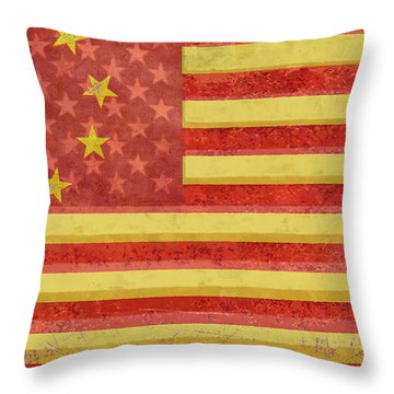 Chinese American Flag Blend Throw Pillow by Tony Rubino