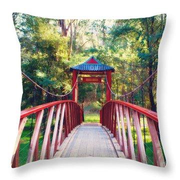 Chinese Bridge Wandiligong Throw Pillow by Linda Lees