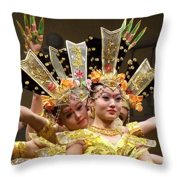 Chinese Dancers Perform Thousand Hands Guan Yin Throw Pillow