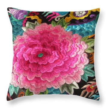 Chinese Embroidery Art Throw Pillow by Alfred Ng