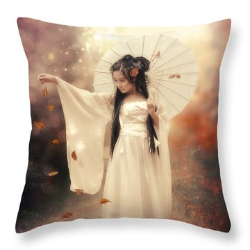Chinese Girl Throw Pillow by Cindy Grundsten