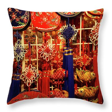 Chinese Handicrafts Vancouver Chinatown Throw Pillow