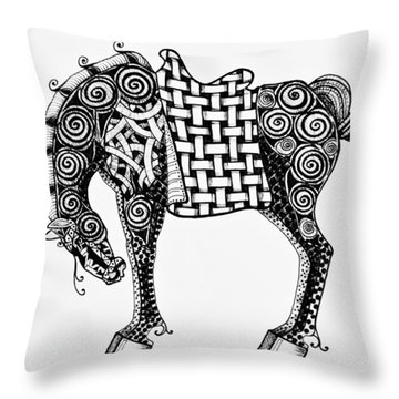 Chinese Horse - Zentangle Throw Pillow