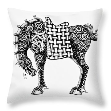 Chinese Horse - Zentangle Throw Pillow by Jani Freimann