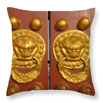 Chinese Imperial Door Knockers Throw Pillow by Alfred Ng