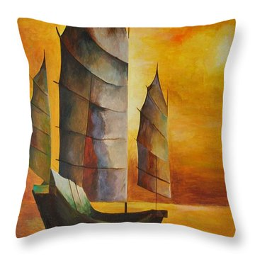Throw Pillow featuring the painting Chinese Junk In Ochre by Tracey Harrington-Simpson