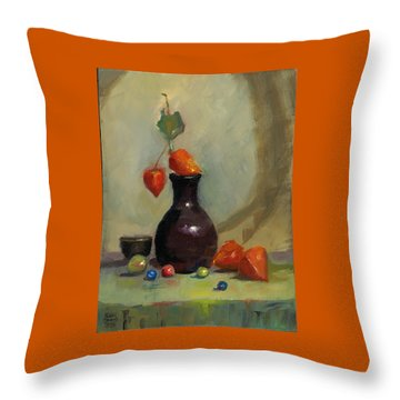 Throw Pillow featuring the painting Chinese Lanterns And Marbles by Susan Thomas