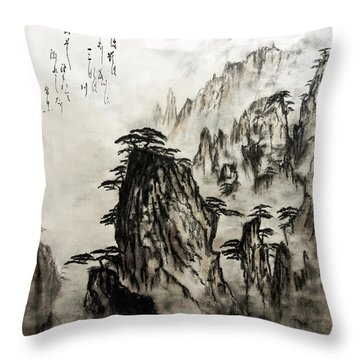 Throw Pillow featuring the painting Chinese Mountains With Poem In Ink Brush Calligraphy Of Love Poem by Peter v Quenter