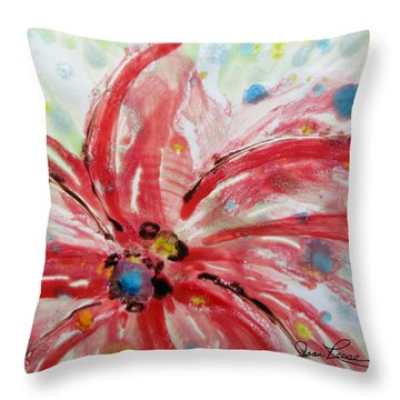 Chinese Red Flower Throw Pillow by Joan Reese