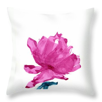 Throw Pillow featuring the painting Chinese Rose Hibiscus by Frank Bright