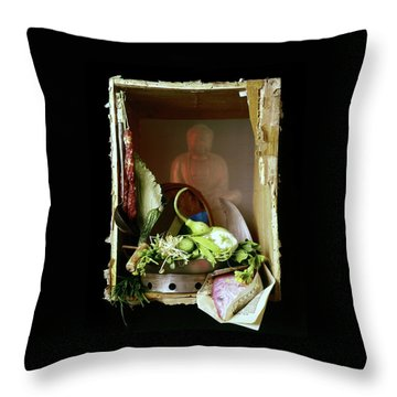 Chinese Statue With Cooking Items Throw Pillow