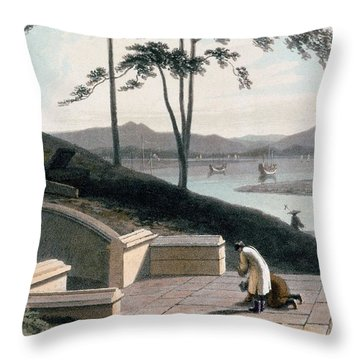 Chinese Tomb With Two Mourners Throw Pillow by Thomas & William Daniell