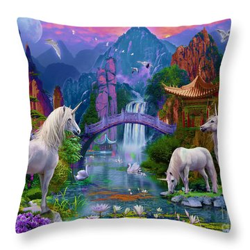 Chinese Unicorns Throw Pillow by Jan Patrik Krasny