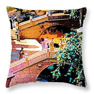 Chinese Village Bridges Throw Pillow