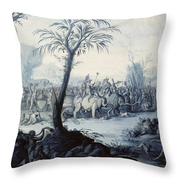 Chinoiserie Landscape With Figures Throw Pillow