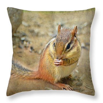 Chipmonk Throw Pillow by Debbie Portwood
