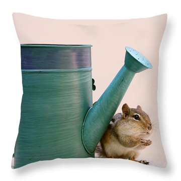 Chipmunk And Watering Can Throw Pillow by Peggy Collins