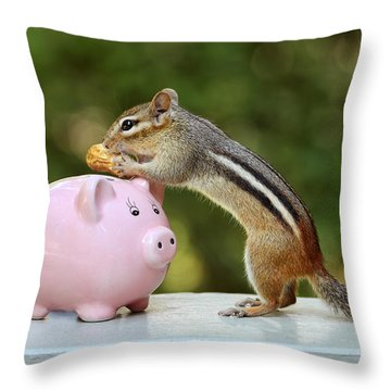 Chipmunk Saving Peanut For A Rainy Day Throw Pillow by Peggy Collins