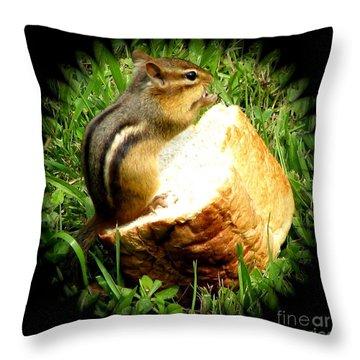 Chipmunk Saying Grace Throw Pillow by Rose Santuci-Sofranko