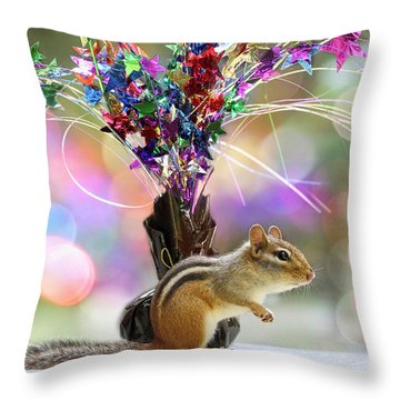 Chippy Party Time Throw Pillow by Peggy Collins