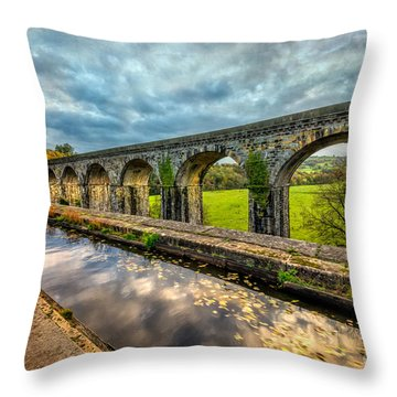 Chirk Aqueduct 1801 Throw Pillow by Adrian Evans