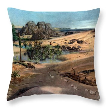 Chirotherium In Lower Triassic Landscape Throw Pillow by Science Source