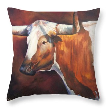 Throw Pillow featuring the painting Chisholm Longhorn by Karen Kennedy Chatham