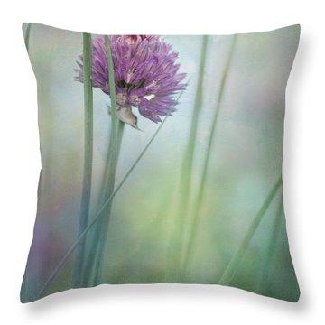 Chive Garden Throw Pillow by Priska Wettstein