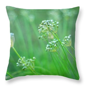 Throw Pillow featuring the photograph Chive Garden by Suzanne Powers