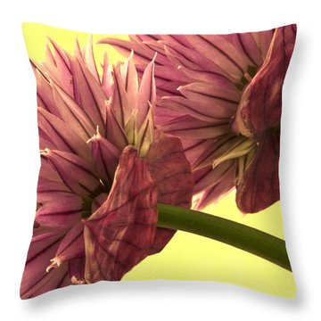 Chive Macro Beauty Throw Pillow by Sandra Foster