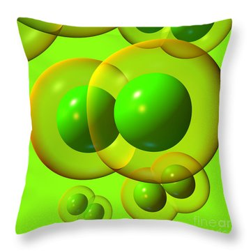 Throw Pillow featuring the digital art Chlorine Molecule 1 Green by Russell Kightley