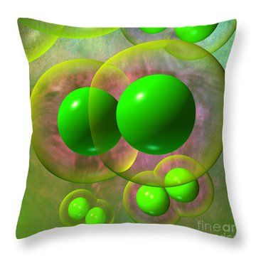 Throw Pillow featuring the digital art Chlorine Molecule 2 Texture by Russell Kightley