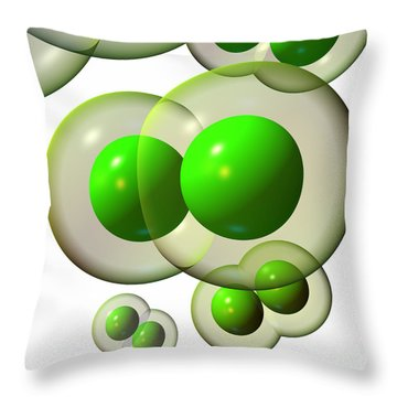 Throw Pillow featuring the digital art Chlorine Molecule 3 White by Russell Kightley