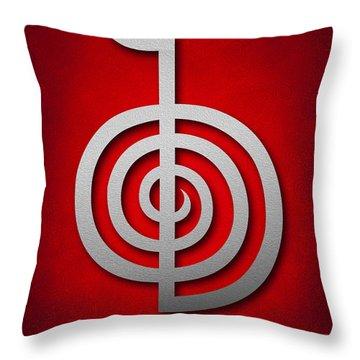 Cho Ku Rei - Silver On Red Reiki Usui Symbol Throw Pillow by Cristina-Velina Ion