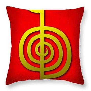 Cho Ku Rei - Traditional Reiki Usui Symbol Throw Pillow by Cristina-Velina Ion