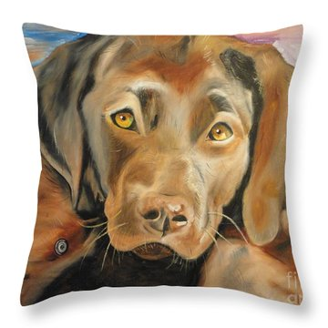 Chocolat Labrador Puppy Throw Pillow