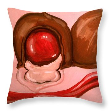 Throw Pillow featuring the painting Chocolate Cherries by Marisela Mungia