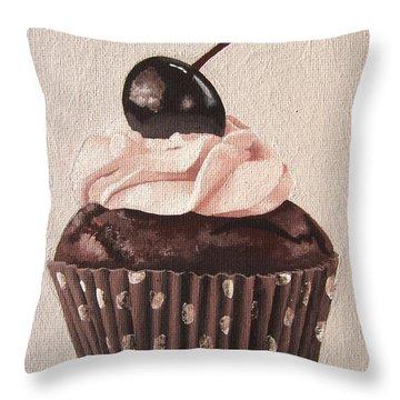 Chocolate Cherry Cupcake Throw Pillow by Kayleigh Semeniuk