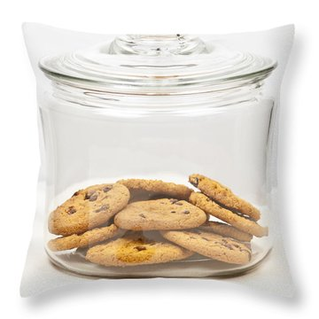 Chocolate Chip Cookies In Jar Throw Pillow by Elena Elisseeva