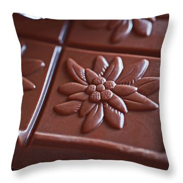 Chocolate Flower  Throw Pillow by Rona Black