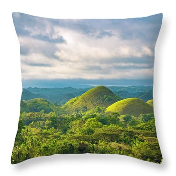 Chocolate Hills In Late Afternoon Throw Pillow