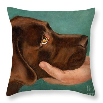 Chocolate Lab Head In Hand Throw Pillow