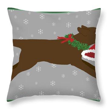 Chocolate Labrador Steals Santa's Hat Throw Pillow