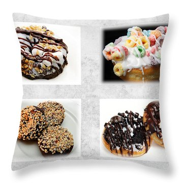Choice Of Donuts 4 X 4 Collage 1 - Bakery - Sweets Shoppe Throw Pillow by Andee Design