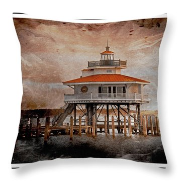 Choptank River Lighthouse Throw Pillow by Suzanne Stout