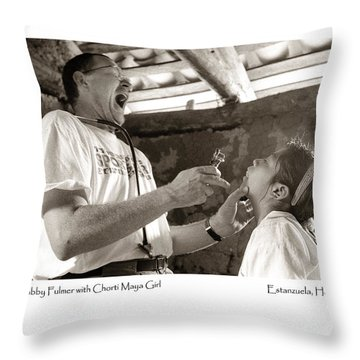 Chorti Maya Girl Throw Pillow by Tina Manley