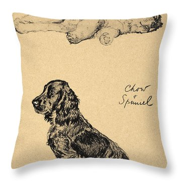 Chow And Spaniel, 1930, Illustrations Throw Pillow by Cecil Charles Windsor Aldin