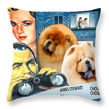 Chow Chow Art Canvas Print - Rear Window Movie Poster Throw Pillow